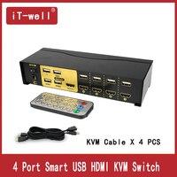 4 порта USB HDMI KVM Switcher для двух мониторов клавиатура мышь с 4 KVM кабелем