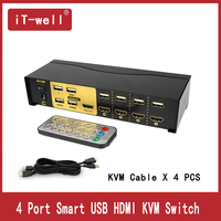 4 Port KVM Switch USB HDMI Switcher for Dual Monitor Keyboard Mouse With 4 KVM Cable