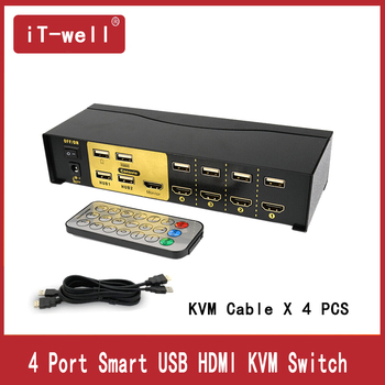 цена на 4 Port  hdmi kvm switch USB HDMI Switcher for Dual Monitor Keyboard Mouse With 4 KVM Cable