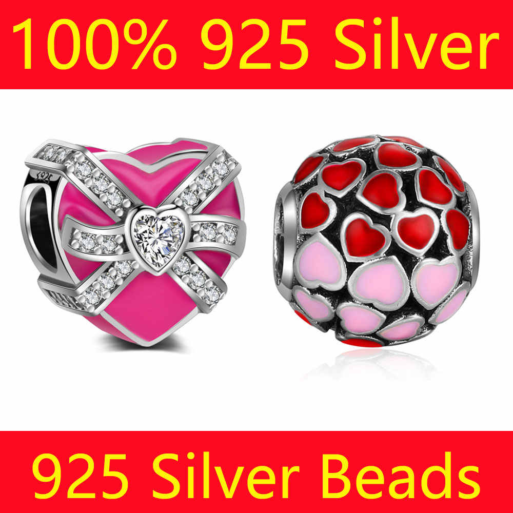 100% S925 Sterling Silver Heart Gift Box Charm Beads Vnistar Wholesale Heart Spacer Big Hole DIY 925 Silver European Bead Charms