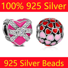100% S925 Sterling Silver Heart Gift Box Charm Beads Vnistar Wholesale Heart Spacer Big Hole DIY 925 Silver European Bead Charms(China)