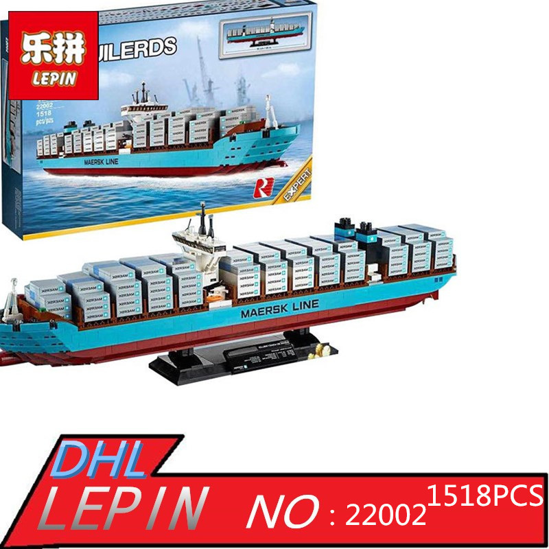 New Lepin 22002 Genuine Technic Series The Maersk Cargo Container Ship Set 10241 Building Blocks Bricks Educational Boy Toys new lp2k series contactor lp2k06015 lp2k06015md lp2 k06015md 220v dc