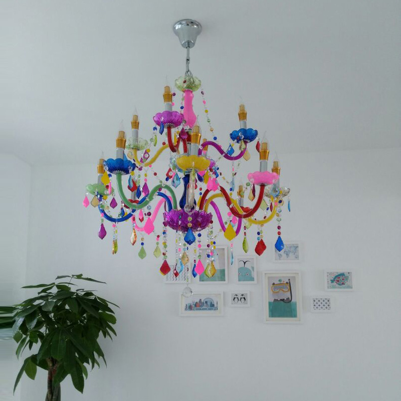 Colored pendant Crystal light Chandeliers European Style Bar Ktv New Style Red Green Yellow Purple green red glass Chandelier