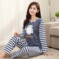 Cartoon DABAI Pajama Sets Women Sleepwear Polyester Nightwear  Long Sleeve Pajamas Tops and Pants Trousers P21 Blue and White