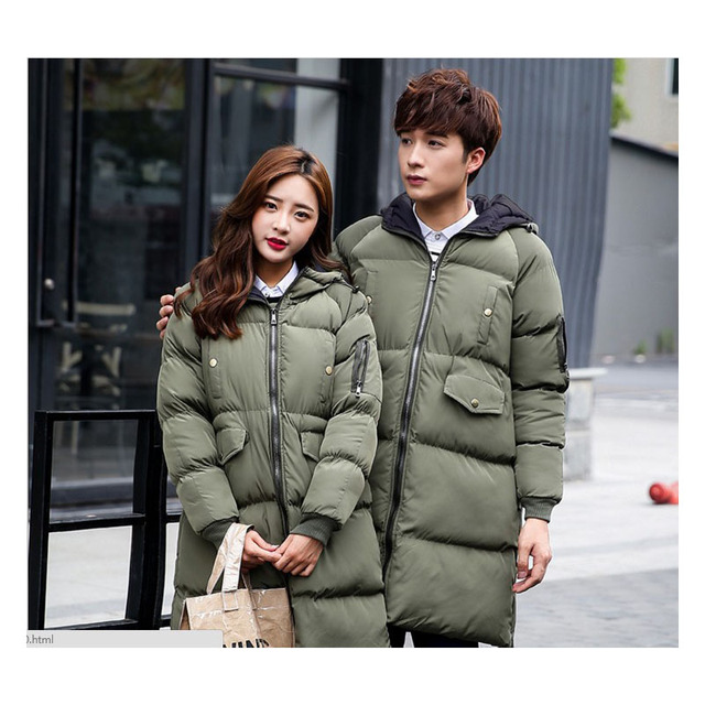 Fashion Youth popular cotton blend plus size thickening Down jacket men hooded couple models loose Wide-waisted winter coat