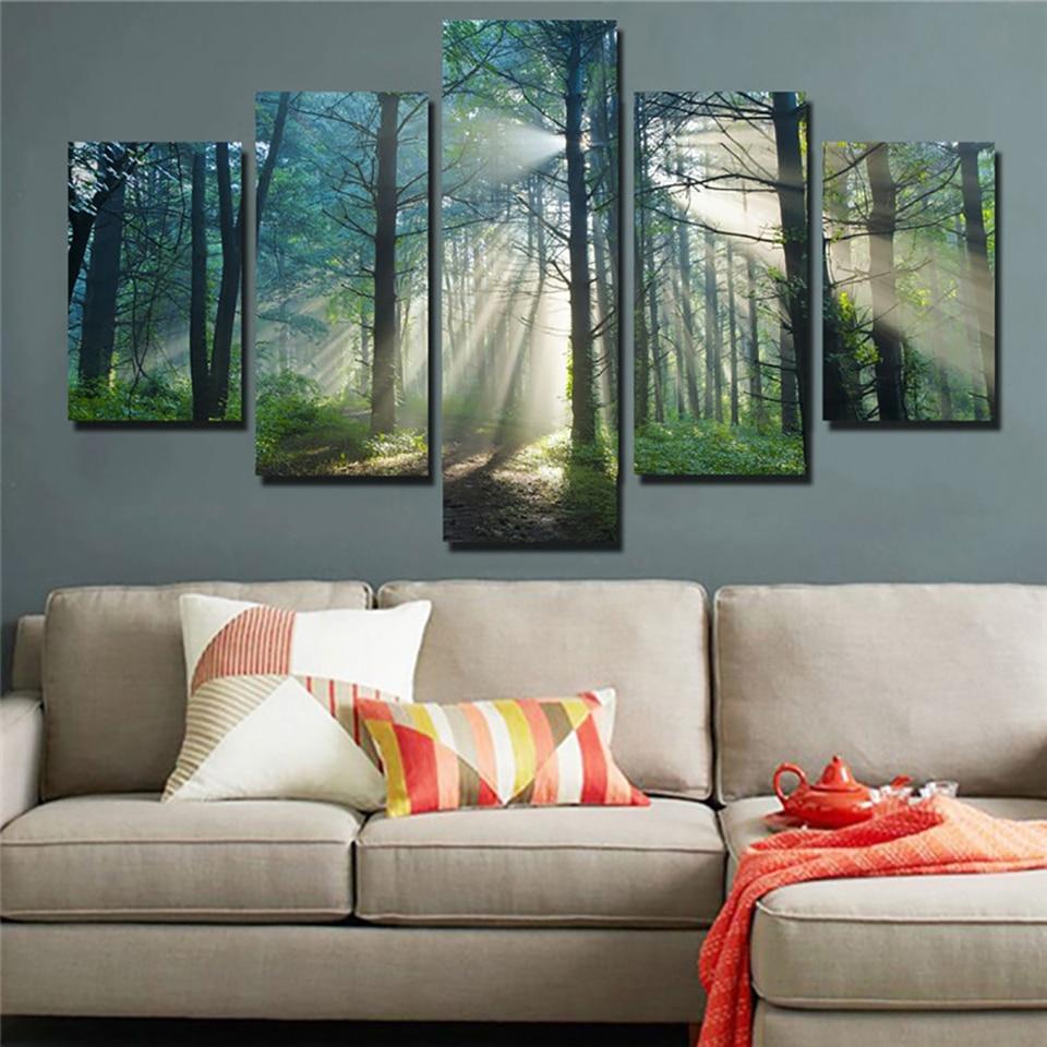 HD печать живопись модульные картины холст 5 Панель красивый восход природный пейзаж плакаты Tableau стены Искусство домашний Декор современны...
