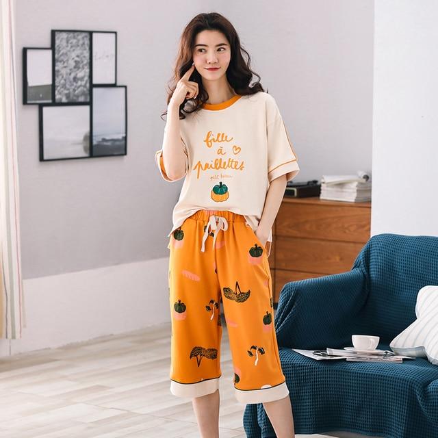 New Arrival Summer 100%Cotton Women Pajamas Set Cartoon Thin Print Pyjamas Women Short Sleeve Round Neck Big Size Pijama Mujer