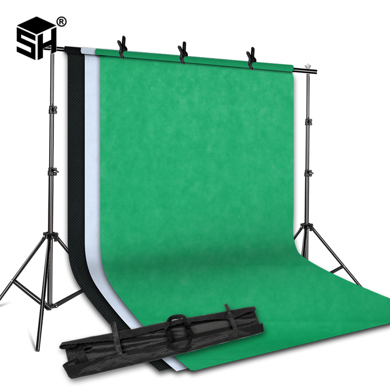 2MX2M Background Stand Support System with 1.6MX3M Nonwoven Fabric Photography Backdrop (White,Black,Green) for Portrait Studio-in Background from Consumer Electronics    1