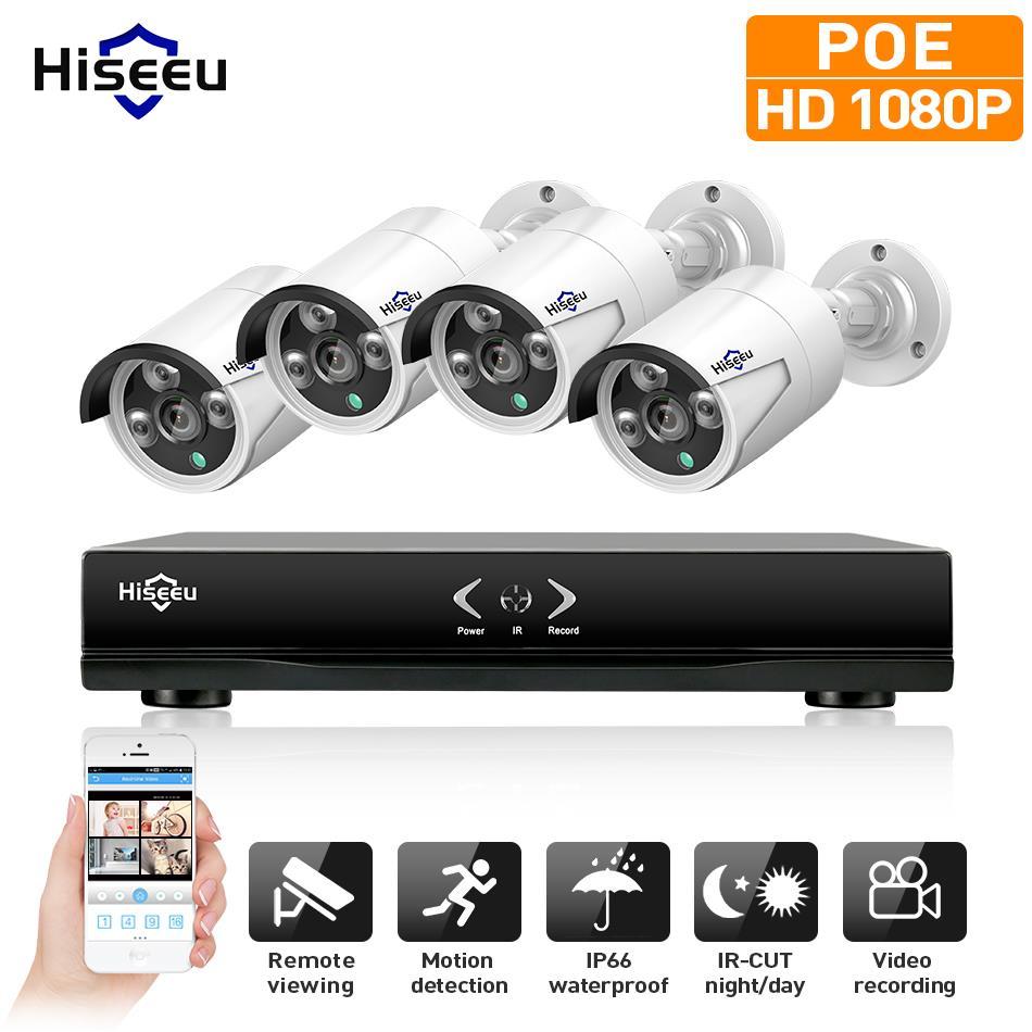 Hiseeu 4CH 1080 P 48 V POE NVR Kit CCTV Système 2MP extérieure IP66 IP Métal Caméra étanche P2P Sécurité À La Maison de Surveillance Kit