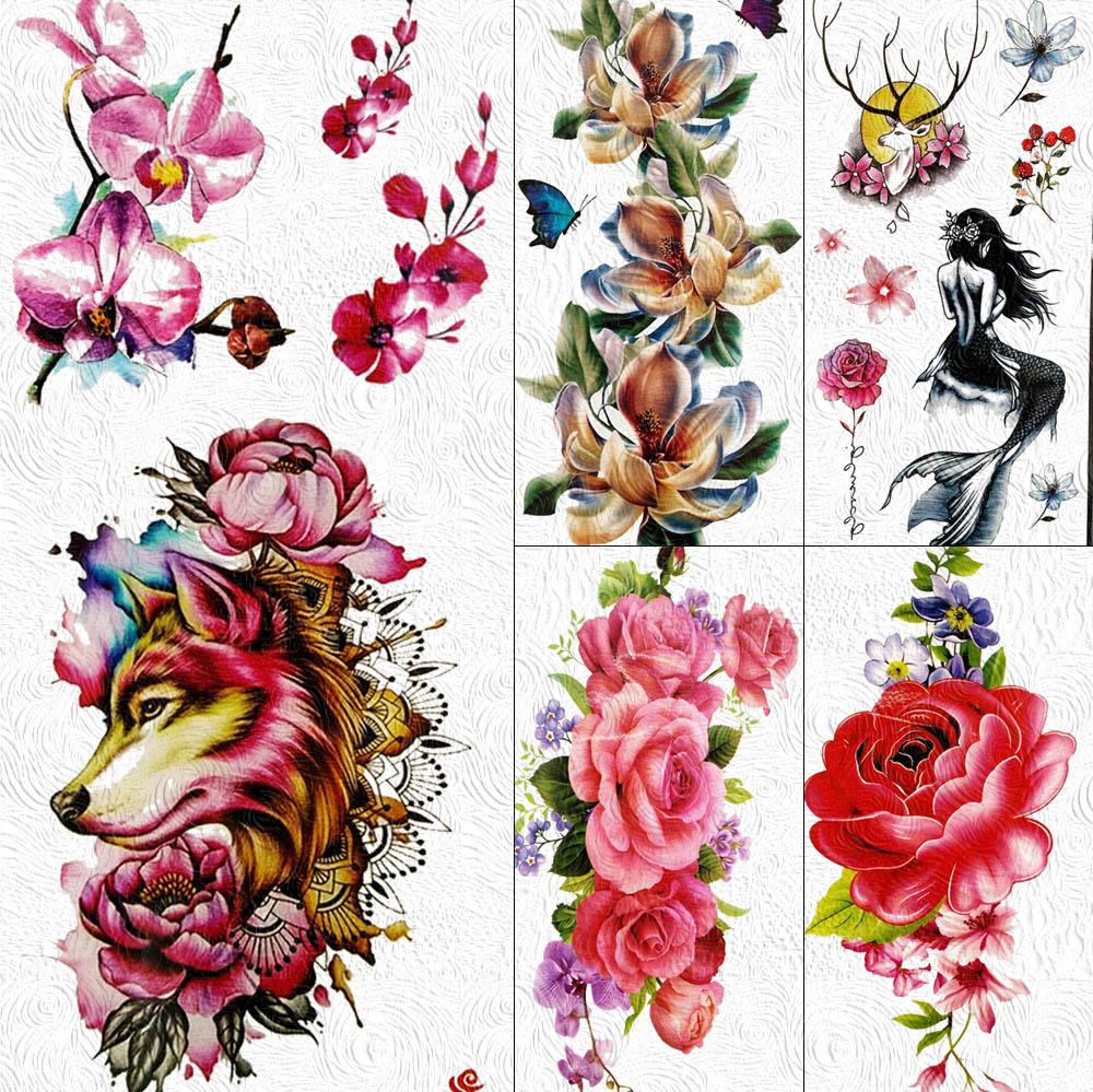 Beauty Wolf Fox Temporary Tattoos Flower Rose Sticker Body Art Arm