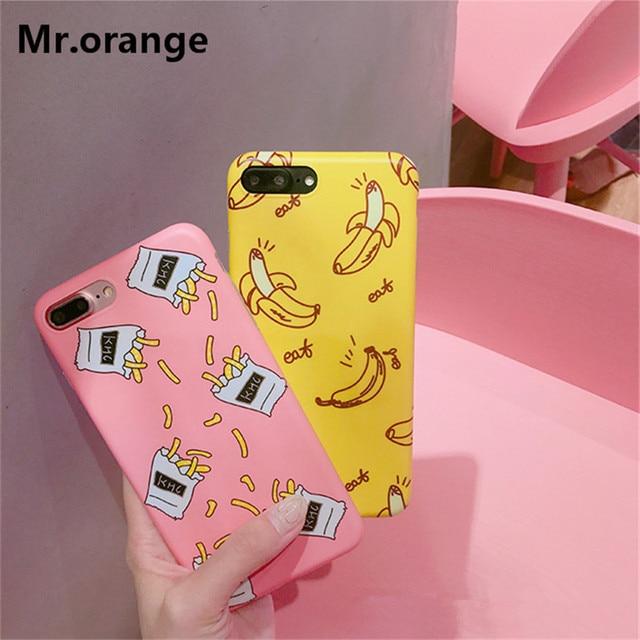 Mr.orange Korea Cute Snacks Banana Chips Onion Case For Apple iPhone 6 6s plus 7 7plus Cartoon Soft TPU Phone Cases Cover Fundas