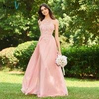 DressV розовое длинное платье подружки невесты Холтер рукавов линия аппликации Пояса спинки пользовательские Наряды на свадебную вечеринку п
