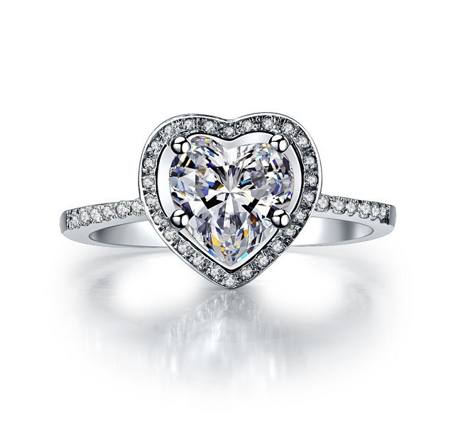 melody lovely heart shape diamond engagement ring 2 carat halo micro pave setting 925 silver wedding