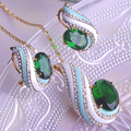 Fashion Green Dubai Jewelry Sets Necklace&Earrings Lagre Rhinestones Conch Pendants French Hooks Brincos Ensemble de Bijoux