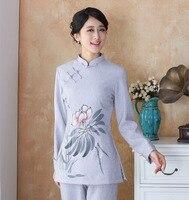 Top Vente de style Traditionnel Chinois Femmes de Chemise Top Classique Dames Blouse Mujeres Camisa Taille S M L XL XXL XXXL XXXXL 2508