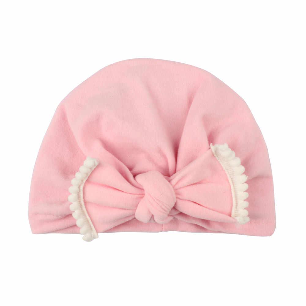 น่ารักทารกแรกเกิดเด็กวัยหัดเดินเด็กทารกเด็กทารกเด็ก Turban หมวกผ้าฝ้าย Beanie หมวกฤดูหนาวหมวก