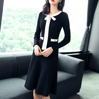 2017 Autumn Winter High-end long sleeve fashion slim bow tie temperament knitting cotton dress