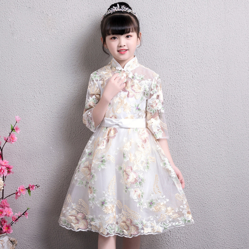 2018 Spring Autumn New Chinese Traditional Elegant Embroidery Flowers Cheongsam Dress For Children Kids Teens Birthday
