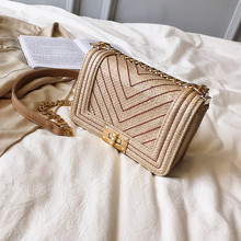 womens brand Straw handbags fashion new summer Rattan Bag Handmade Woven Beach Sewing thread Bohemia Handbag cute pink women bag