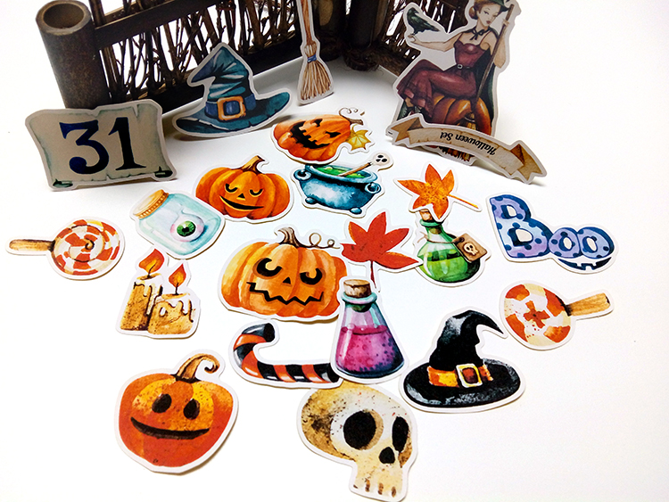 22pcs Self-made handbook stickers cute kawaii halloween stickers funny decorative stickers scrapbooking DIY craft photo albums happy halloween shape diy wall stickers