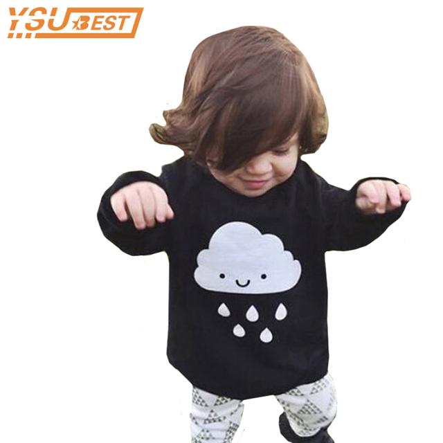 b8e8f1d1e Suéter bebé 2019 de moda bebé niños niñas equipado ropa de invierno otoño  nube lluvia negro