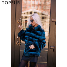 TOPFUR 2018 Winter New Natural Rex Rabbit Fur Coat Women Genuine Real Jacket Warm Luxury With Collar