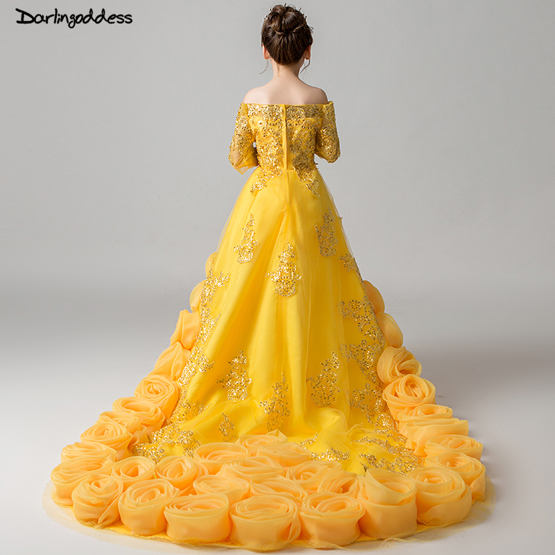 Luxury Yellow Pageant   Dresses   for   Girls   Short Front Long Back   Flower     Girl     Dresses   for Weddings Little Kids   Girls   Evening Gown