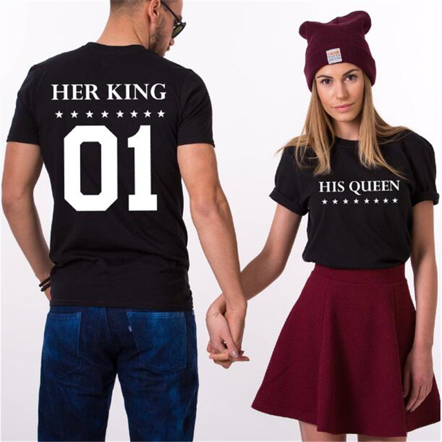 17f76c27 Her King His Queen T-shirt King Queen Couple TShirts Funny Lovers Printed T  Shirt Men Women Casual Cotton Valentine's Tshirt Top