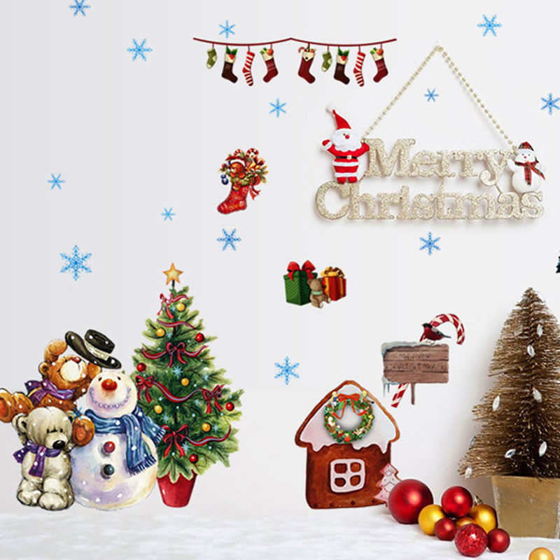 Christmas window stickers vinilos decorativos wall for Stickers decorativos