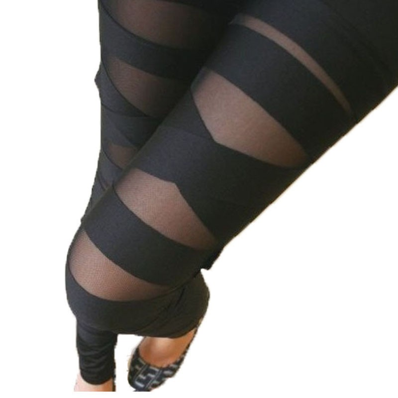 Women Pants Elastic Mesh Sexy Pants Legging Rock Slim S1 Female Black Gothic Bandage Punk Cross Capris