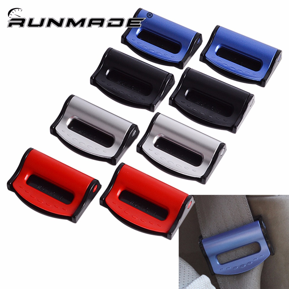 Runmade 2pcs lot adjustable universal for auto car vehicles safety belt clips seat belt buckle safety stopper belt clips