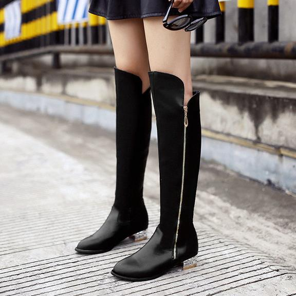 ФОТО 2016 tall boots flat heel boots flat winter thermal zipper 34 - 42 plus size boots free shipping