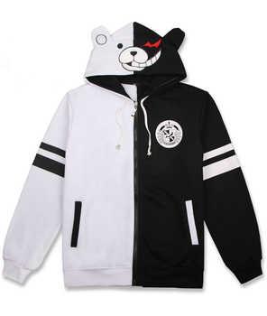 Anime Danganronpa Trigger Happy Havoc Hooded Zipper Hoodie Cosplay Costume Monokuma Jacket Men & Women Casual Sweatshirt - Category 🛒 Novelty & Special Use