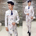 2017 Men Complete Suits Mid Long 3 Pieces (Jacket + Vest + Pants) Vintage Floral Wedding Suit Slim Fit Stage Costumes Tuxedo
