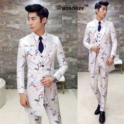 2017 Men Complete Suits Mid Long 3 Pieces (Jacket + Vest + Pants) Vintage Floral Wedding Suit Slim Fit Stage Costumes Tuxedo