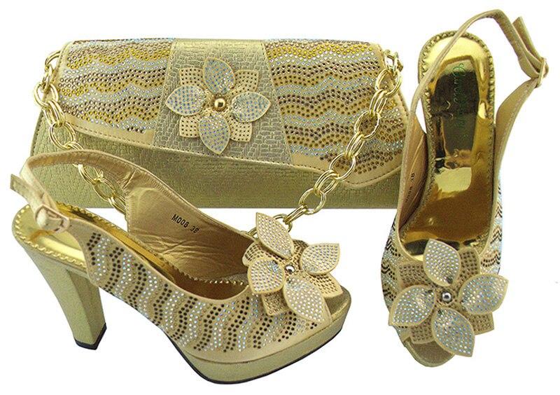 Новая итальянская обувь объединения с золотой Цвет сумки выходные женские туфли-лодочки обувь и сумки комплект модной обуви в африканском ...