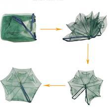 Folded Hexagon 6 Hole Fishing Shrimp Automatic Trap Fishing Net Fish Shrimp Minnow Crab Baits Cast Mesh Trap