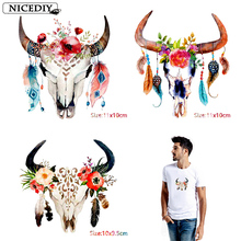 Nicediy Indian Tribe Skull Patches Clothing Applique Flowers Heat Transfer Stickers On Clothes Thermal Transfers Badge