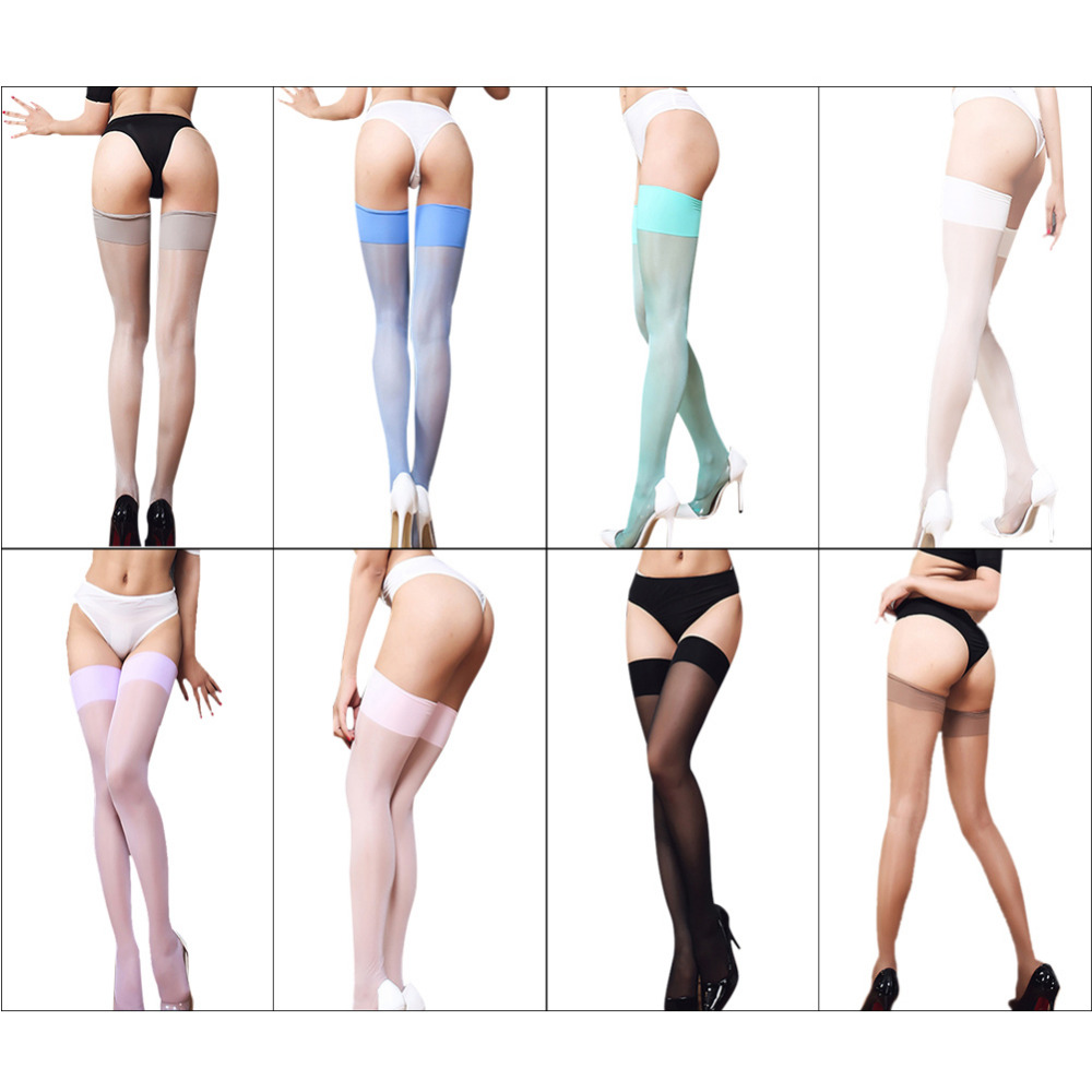 New 8 Colors Sexy Black Red Blue Pink Green Thigh High Stockings Women Solid Color Over Knee Long Thin Stockings Without Pants