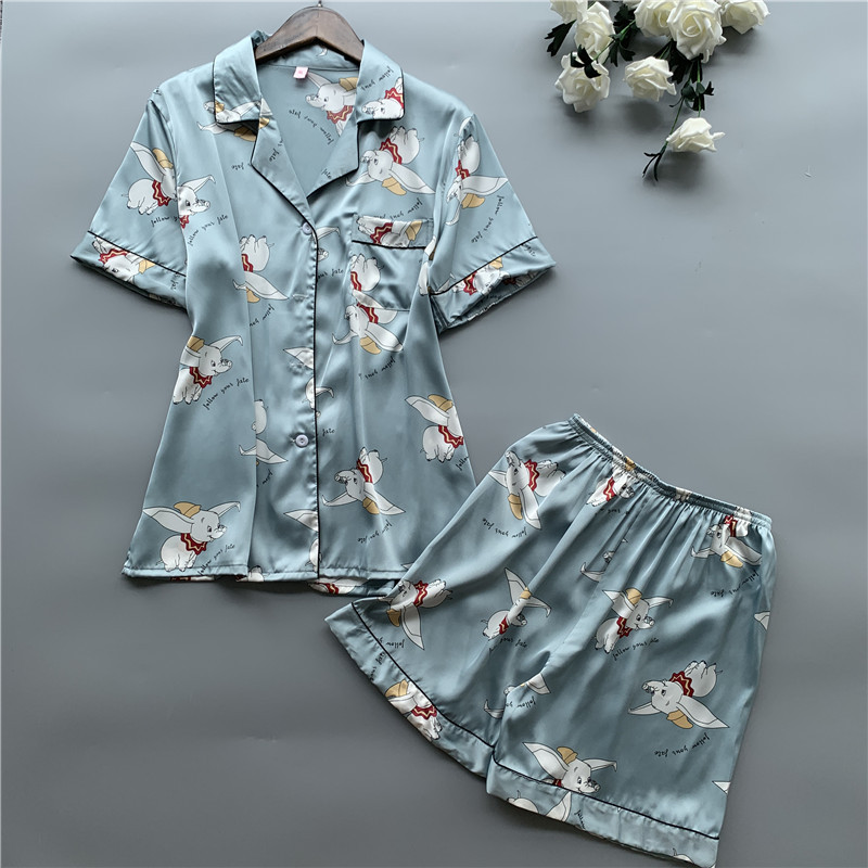 2019 Women   Pajamas     Set   With Shorts Cute Satin Pyjama Sleepwear Short Sleeve Pyjama Femme Elegant Print Silk Pijama Nightwear