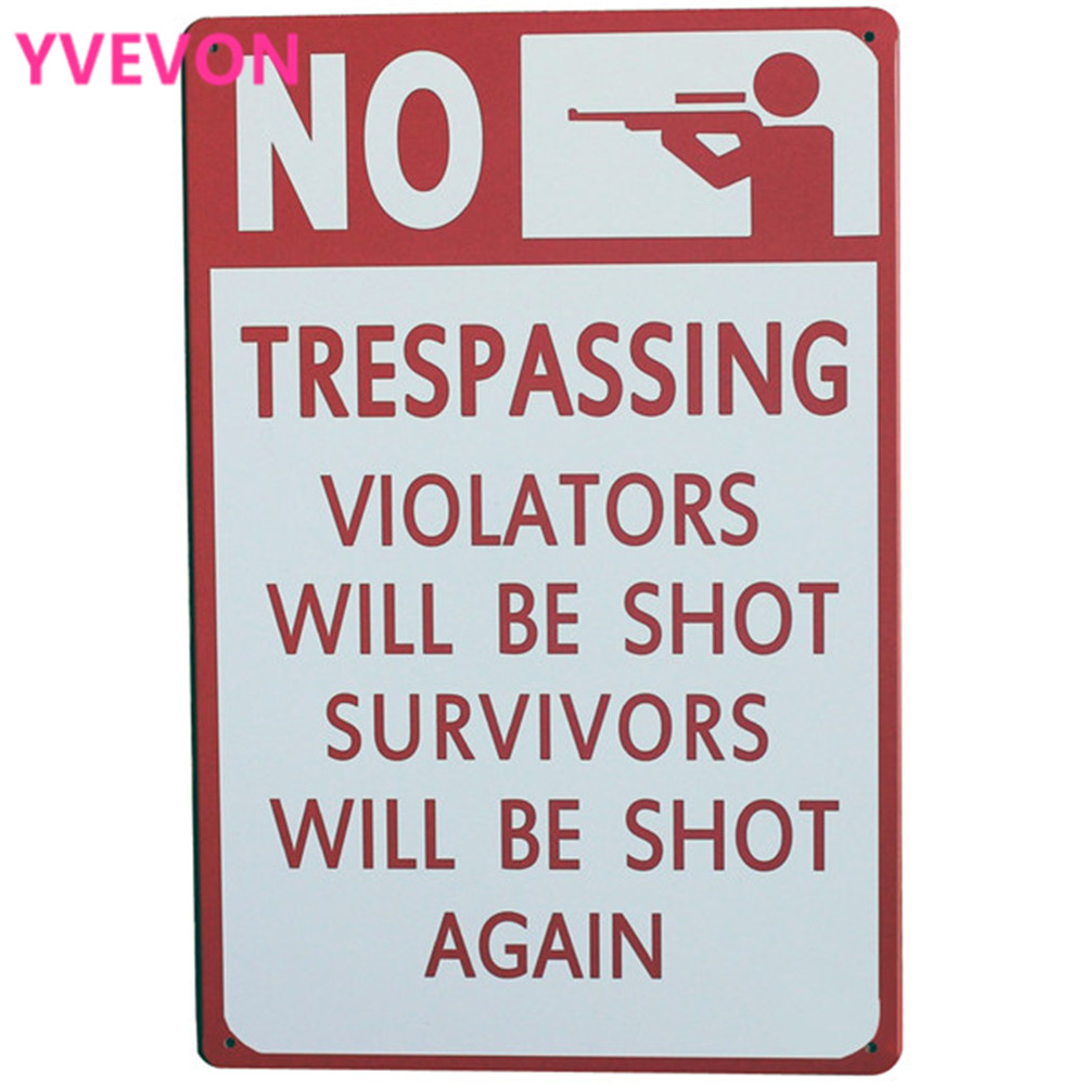 NO TRESPASSING WARNING 보드 금속 장식 표시 술집 파티 벽 - 가정 장식