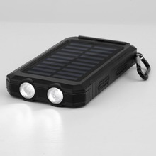 Wopow 15000mAh Waterproof Durable Portable Solar Charger Dual USB Battery Power Bank With Compass 2 LED for Outdoor Emergency