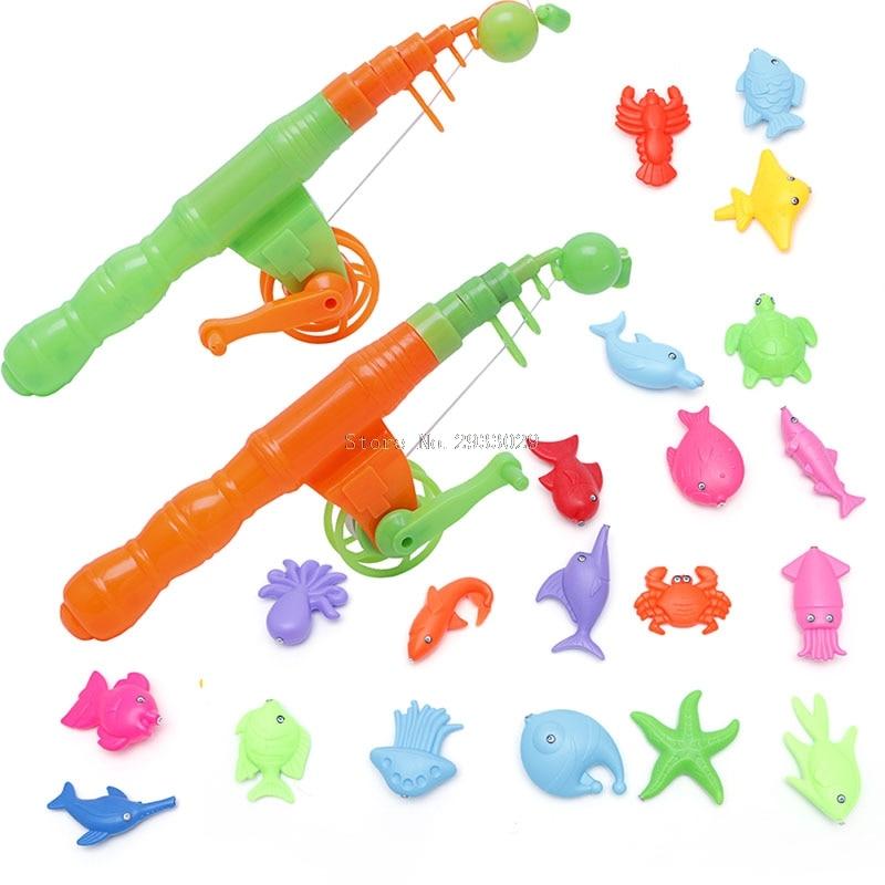 1Pc Baby Kids Magnetic Fishing Rod Fish Model Educational Toy Fun Game Gift -B116
