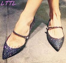 Spring Fashion Bling Glitter Women Pointy Toe Flats Ankle Buckle Ladies Ballet Flats Elegant Style Female Dress Shoes