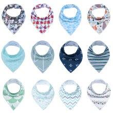 12 Uds. De baberos Bandana Unisex para bebé, Baberos ajustables con broches para babear y morder, 100% de algodón, conjunto de regalo, accesorios útiles para bebé