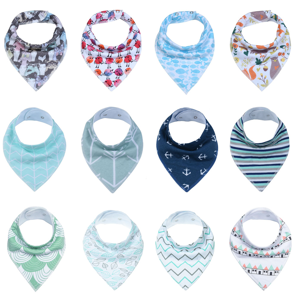 Baby 12-Pack Super Absorbent Cotton Adjustable Baby Bandana Drool Bibs with 2 Snaps Unisex Baby Gift