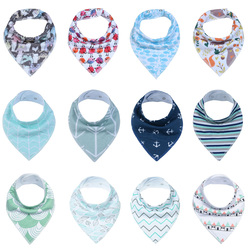 12pcs Unisex Baby Bandana Drool Bibs Adjustable Snaps Bibs for Drooling and Teething 100%Cotton Gift Set Useful Baby Accessories