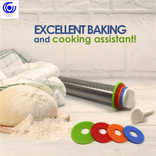 Non-Stick Adjustable Stainless Steel Rolling Pin Dough Roller with 4 Removable Thickness Rings Dumplings Pizza Baking Tools