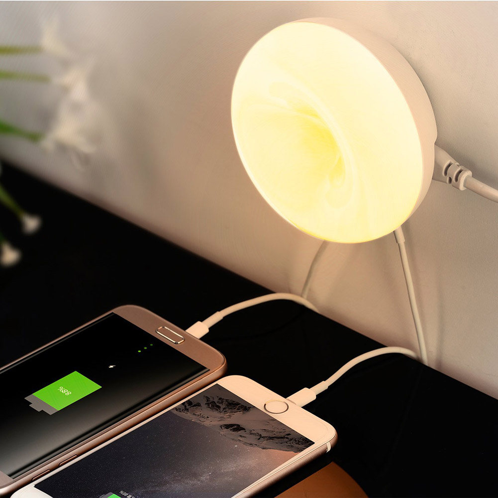 Desktop Table Lamp Smart Cell Phone Charging 2 USB Port LED Night Light Warm White Sweet Donuts Style Charger Led Sensor Light стоимость