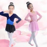 7 renkler sıcak satış 100-150 cm pembe mor mavi kız leotard dans bale elbise giysi + etek uzun kollu dans kostümleri